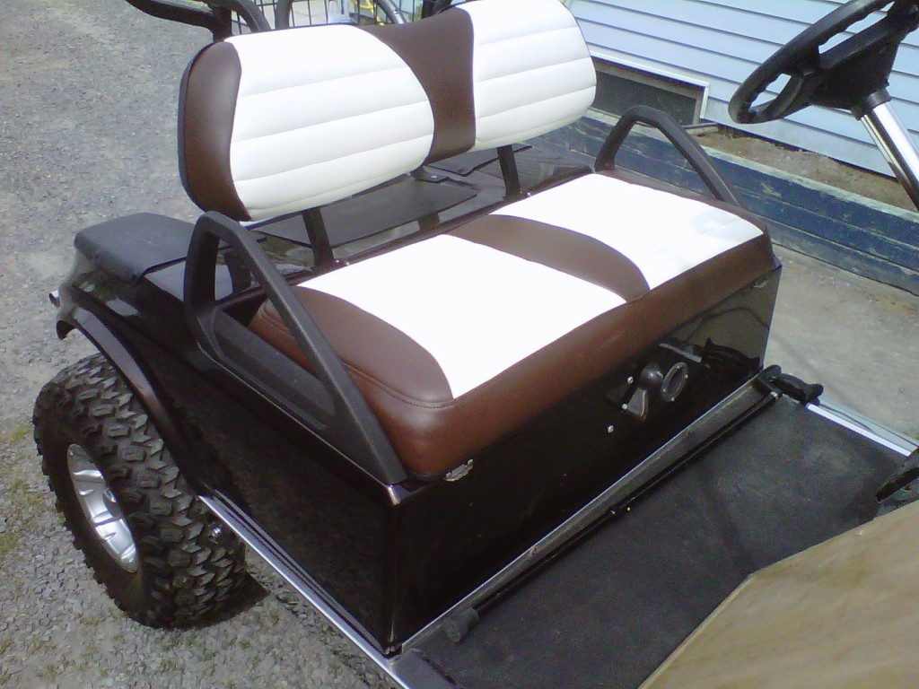 re upholstered golf cart